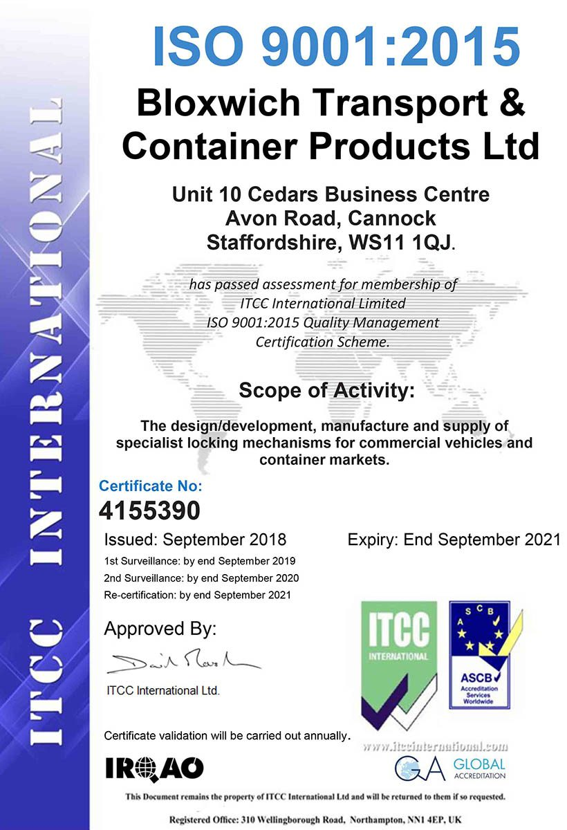 ISO9001: 2015 Quality Certificate